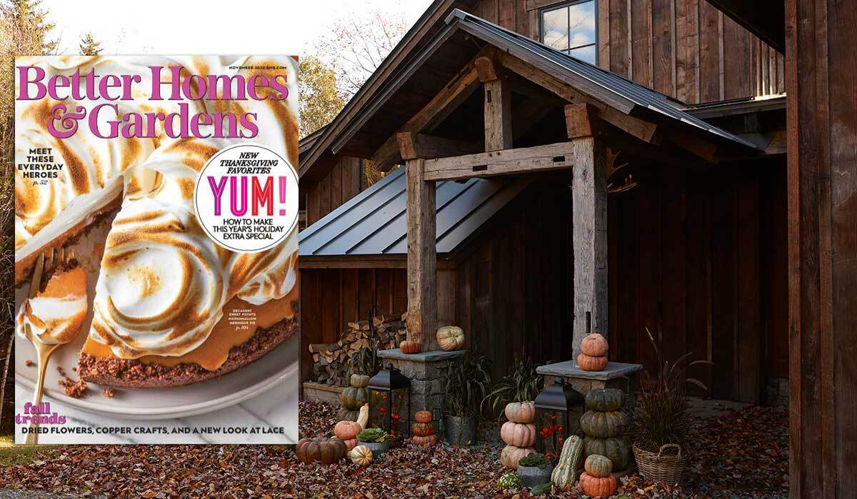 Cover of November 2020 issue of Better Homes & Gardens with rustic cabin