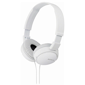 White Sony over-ear headphones with cord. photo