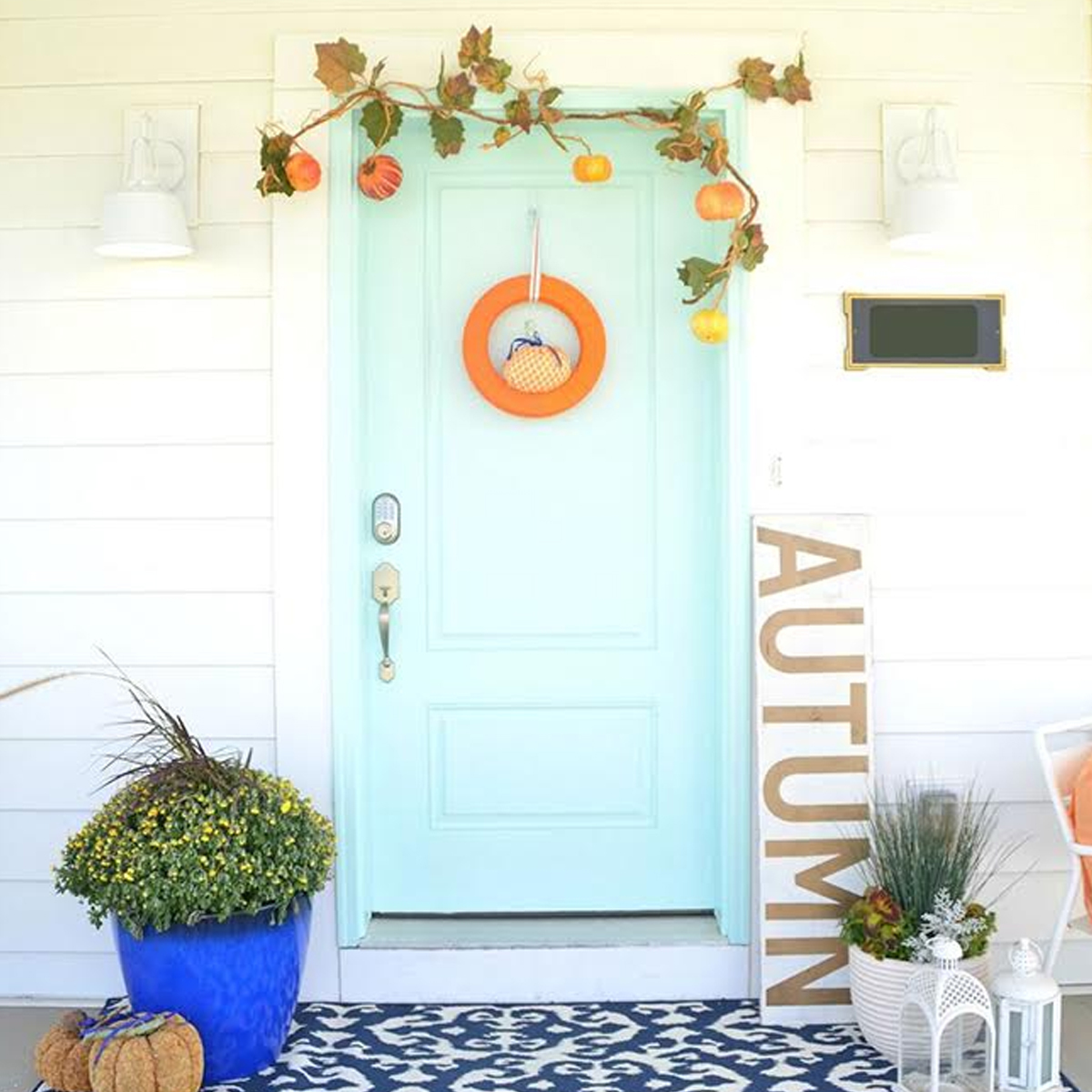 Pastel blue door fall entry photo