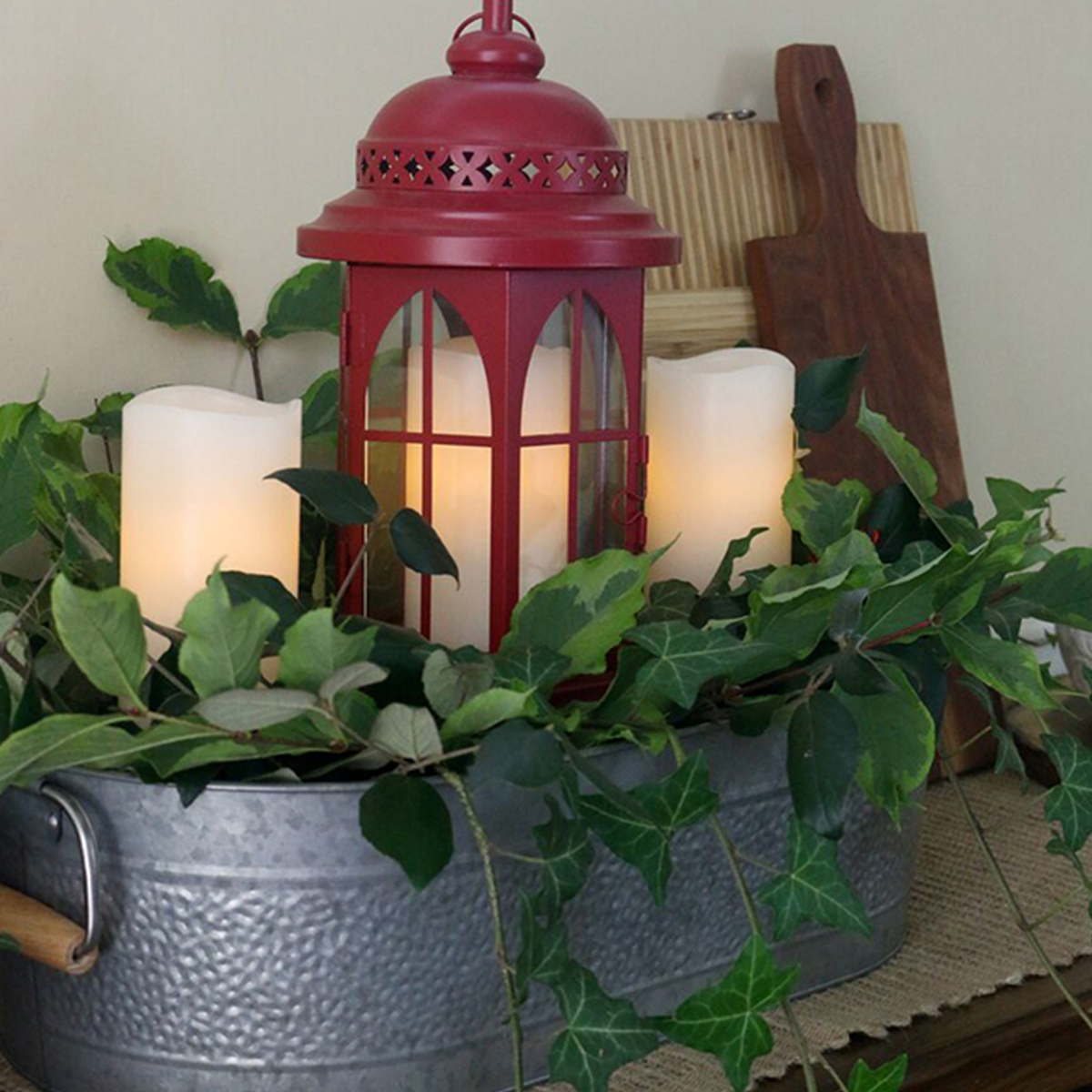 Better Homes & Gardens red lantern with LED candles photo