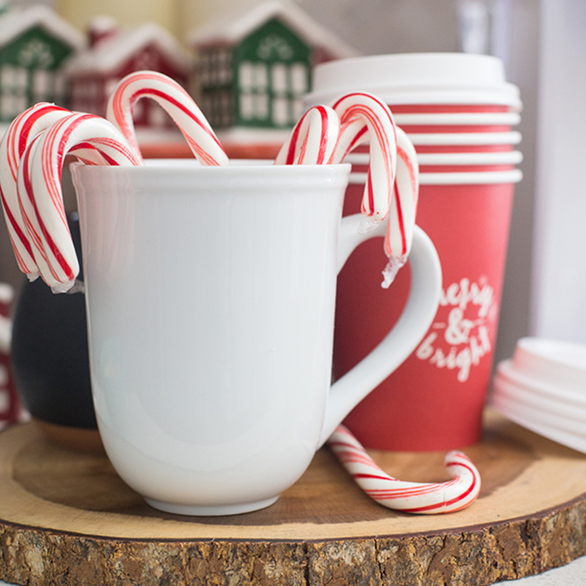 Better Homes & Gardens white mug with candy canes in it photo