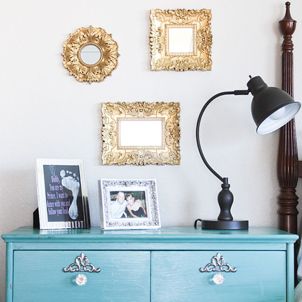 Better Homes & Gardens gold mirrors and bronze table lamp photo
