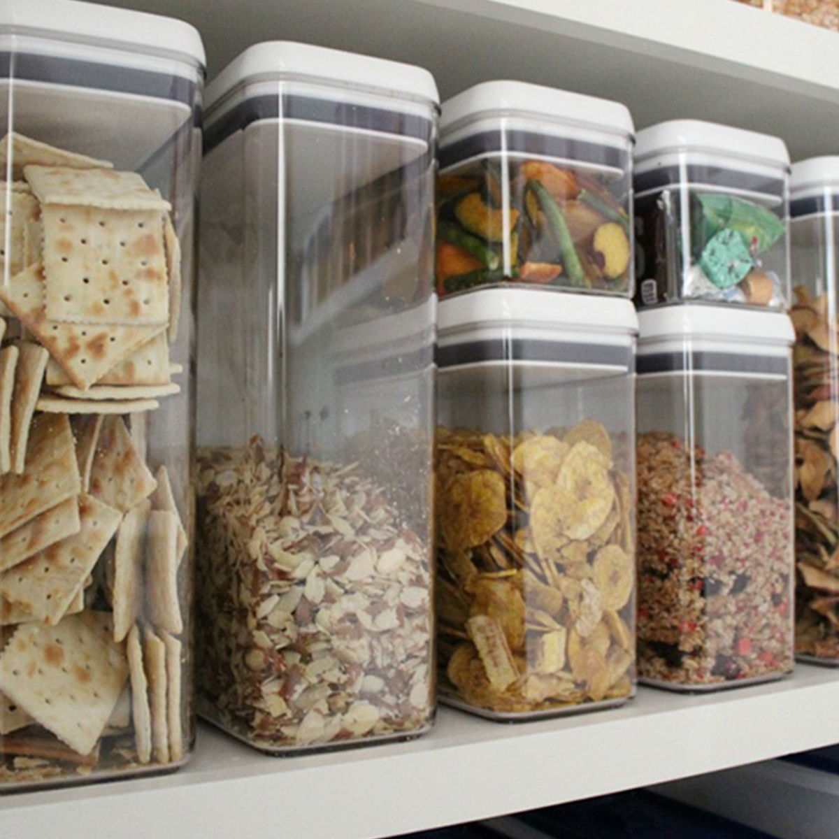 Use the 8-piece canister set to organize your household snacks. photo