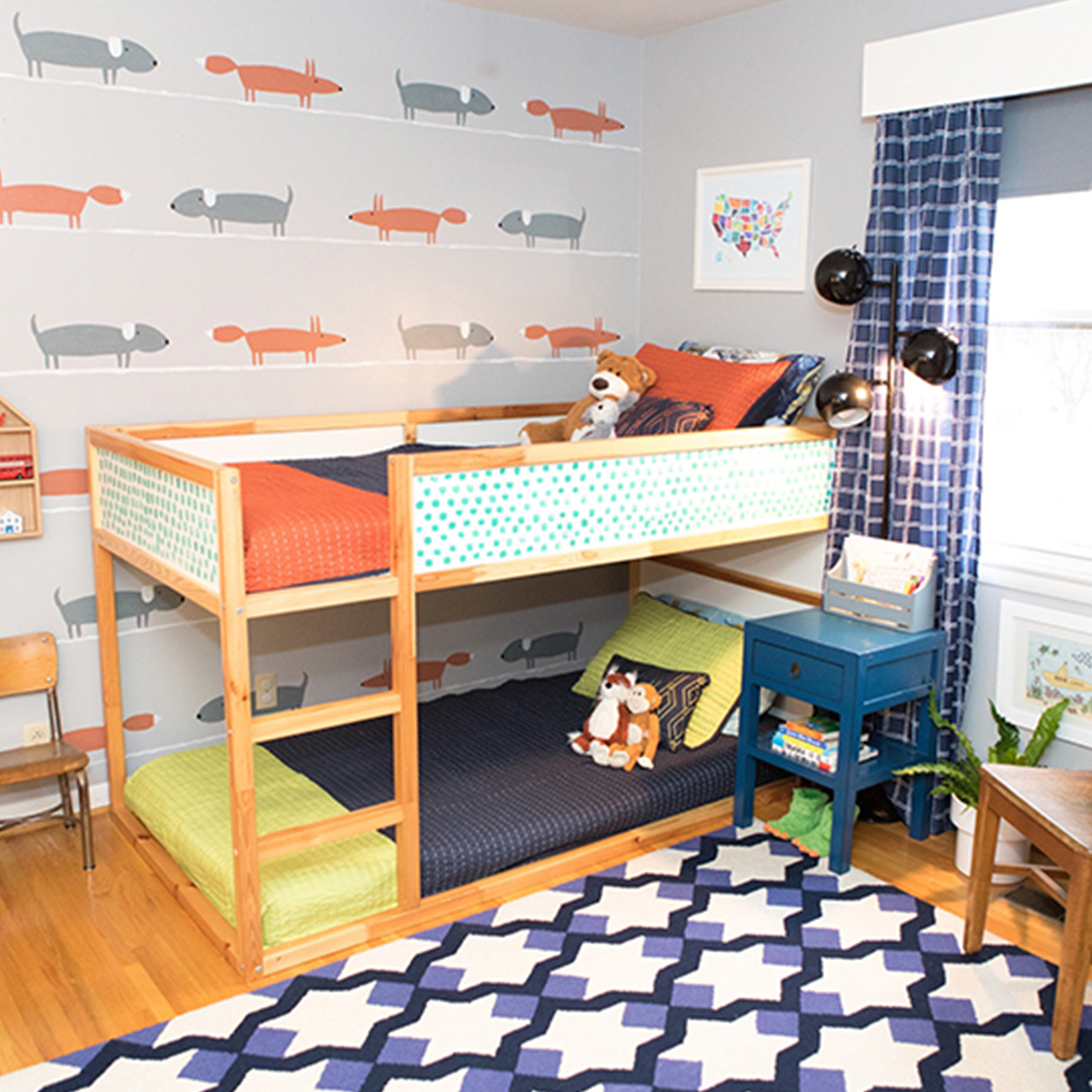 Kids color block quilt set great for any child's room. photo