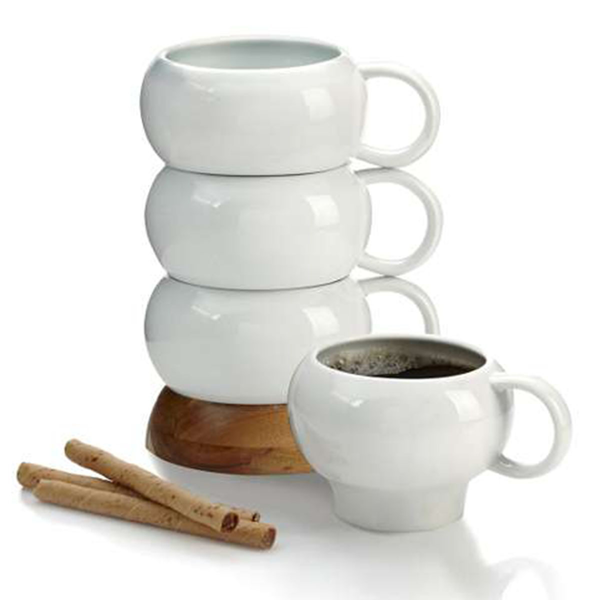 Set of four mugs that stack on each other for easy storage photo