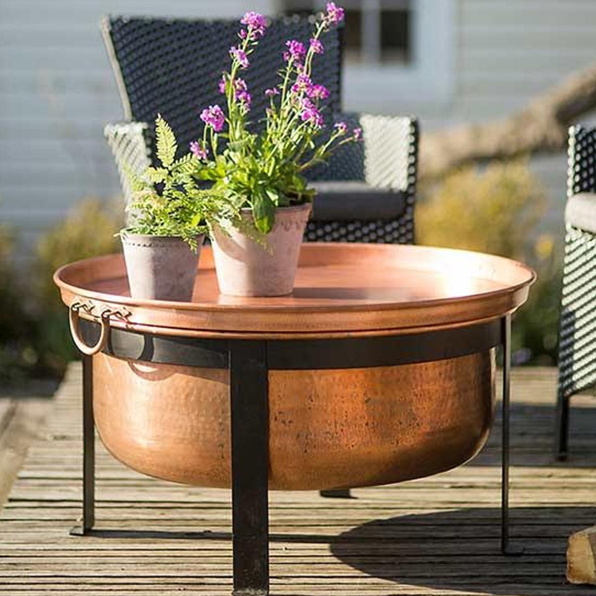 Stunning Copper Fire Pit That Also Doubles As A Table. Photo