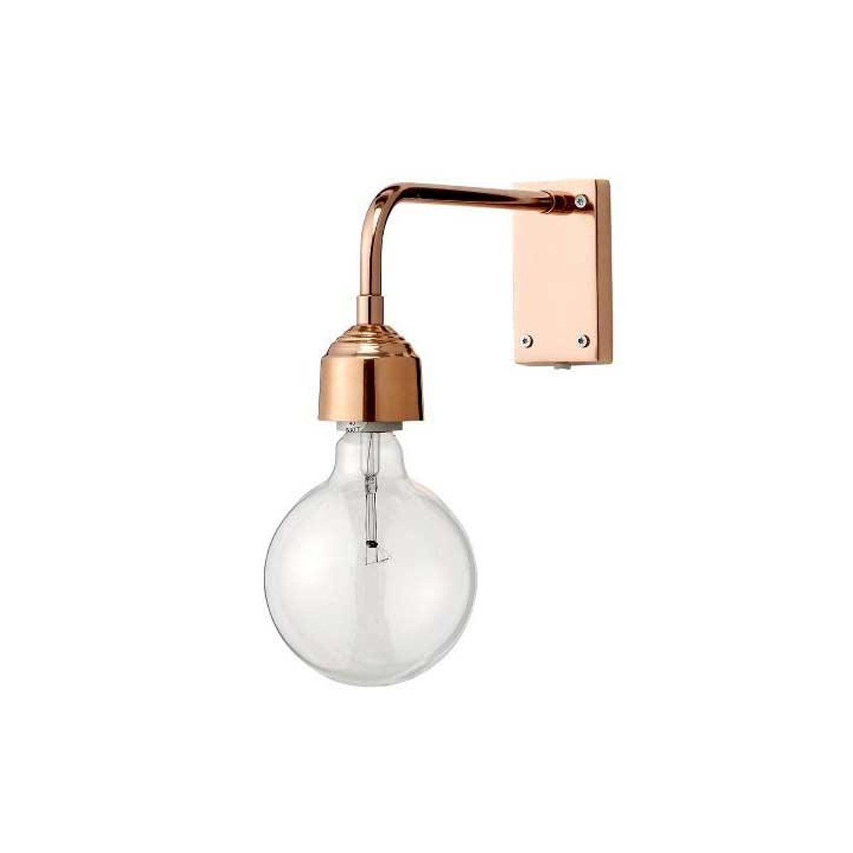 Copper metal wall lamp that brings a touch of modern-industrial design to the living room or bedroom. photo