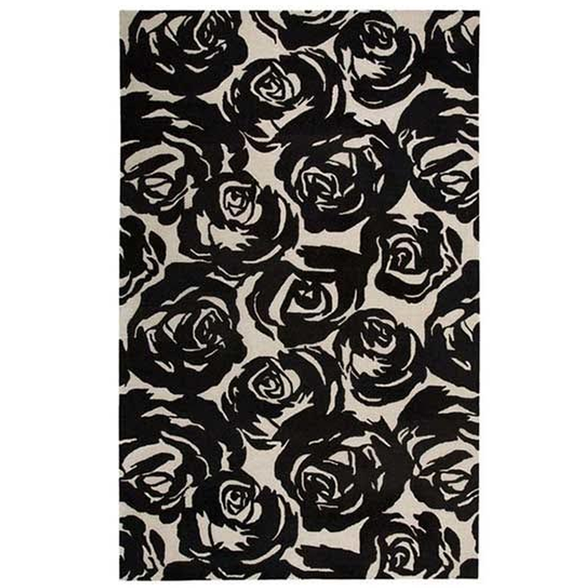 Area rug with monochromatic floral print featuring a hand-tooled-wool-and-silk combo. photo
