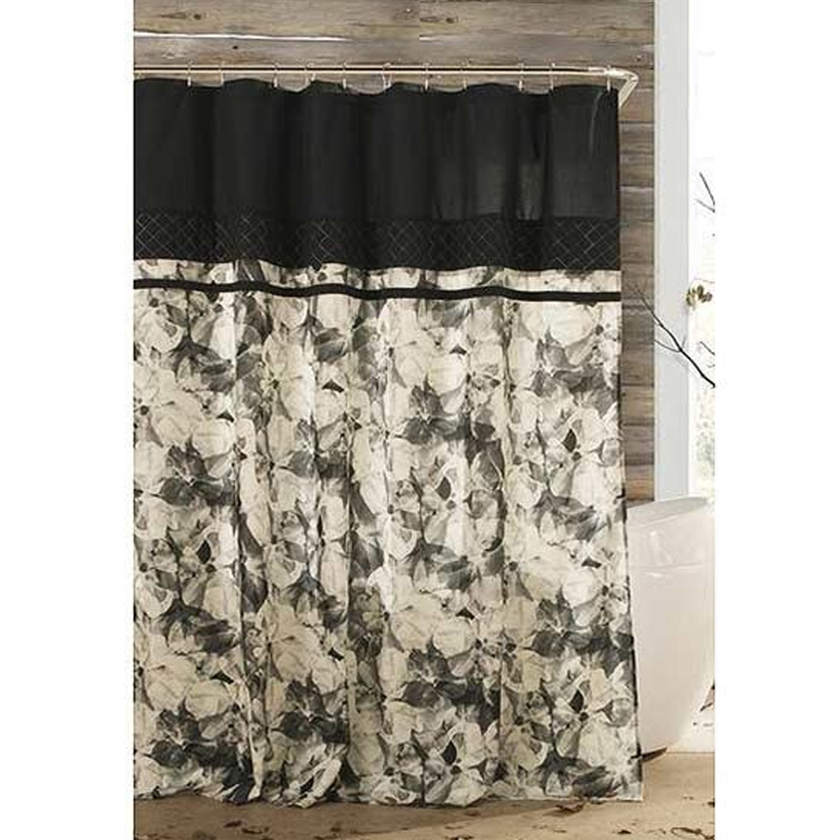 Bold and blossoming shower curtain with a soft floral print for a spa-like space. photo