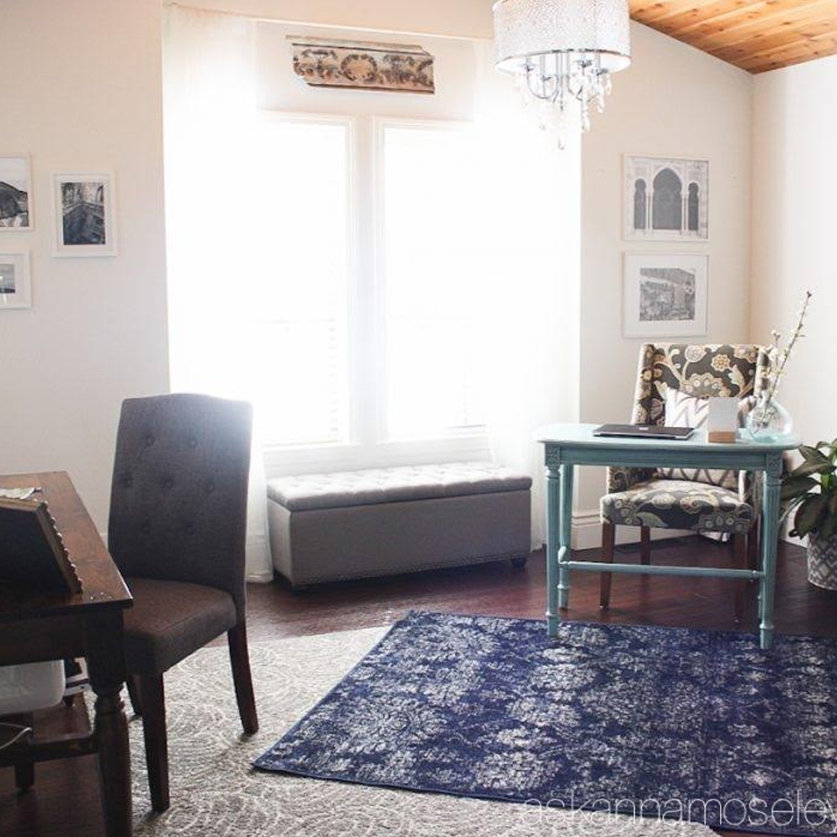 Home office with blue area rug photo