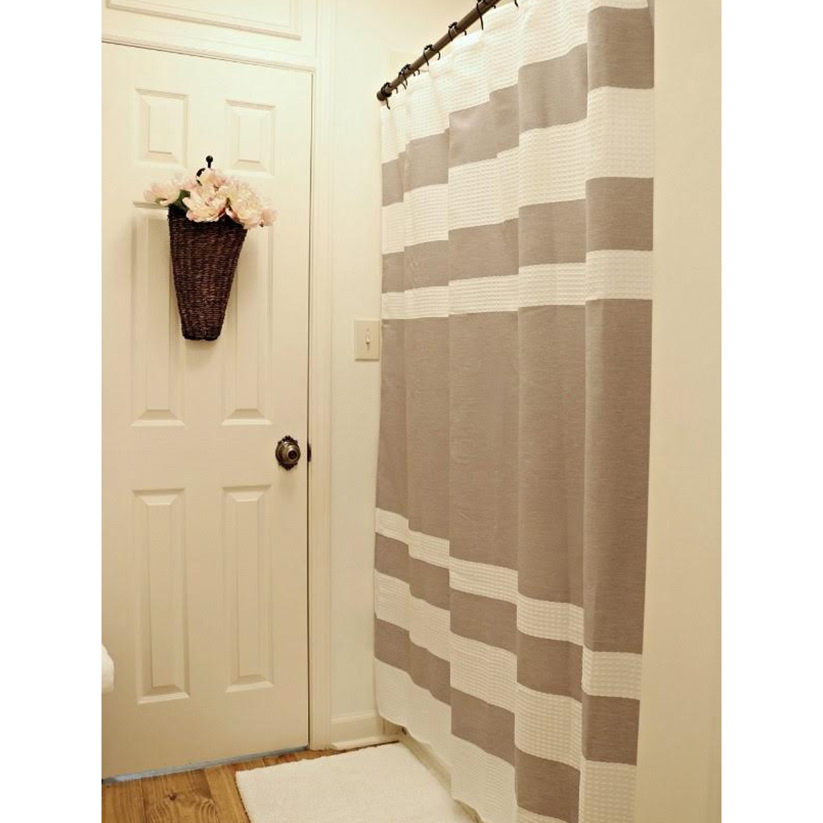 Gray and white striped shower curtain photo