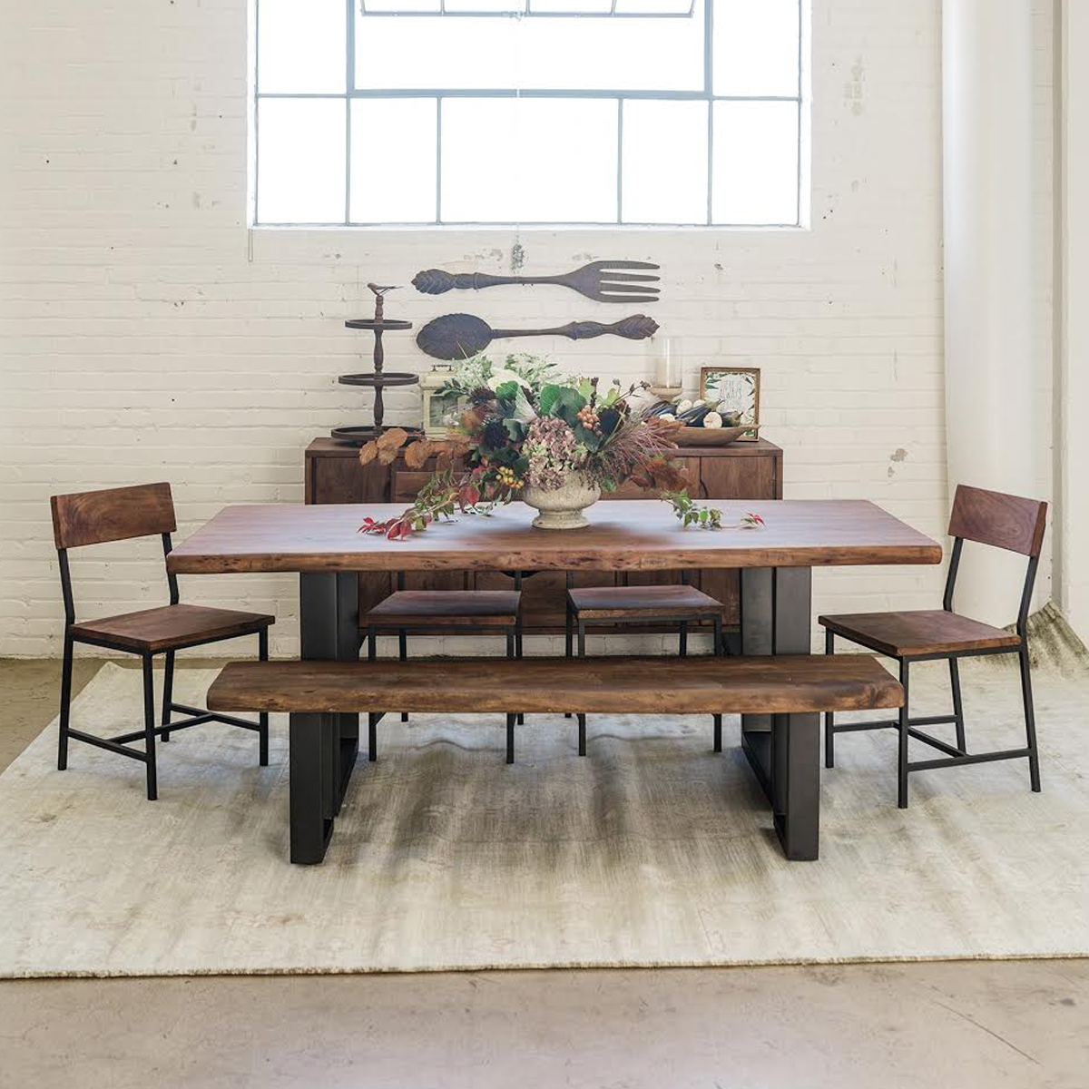 Wood dining table photo