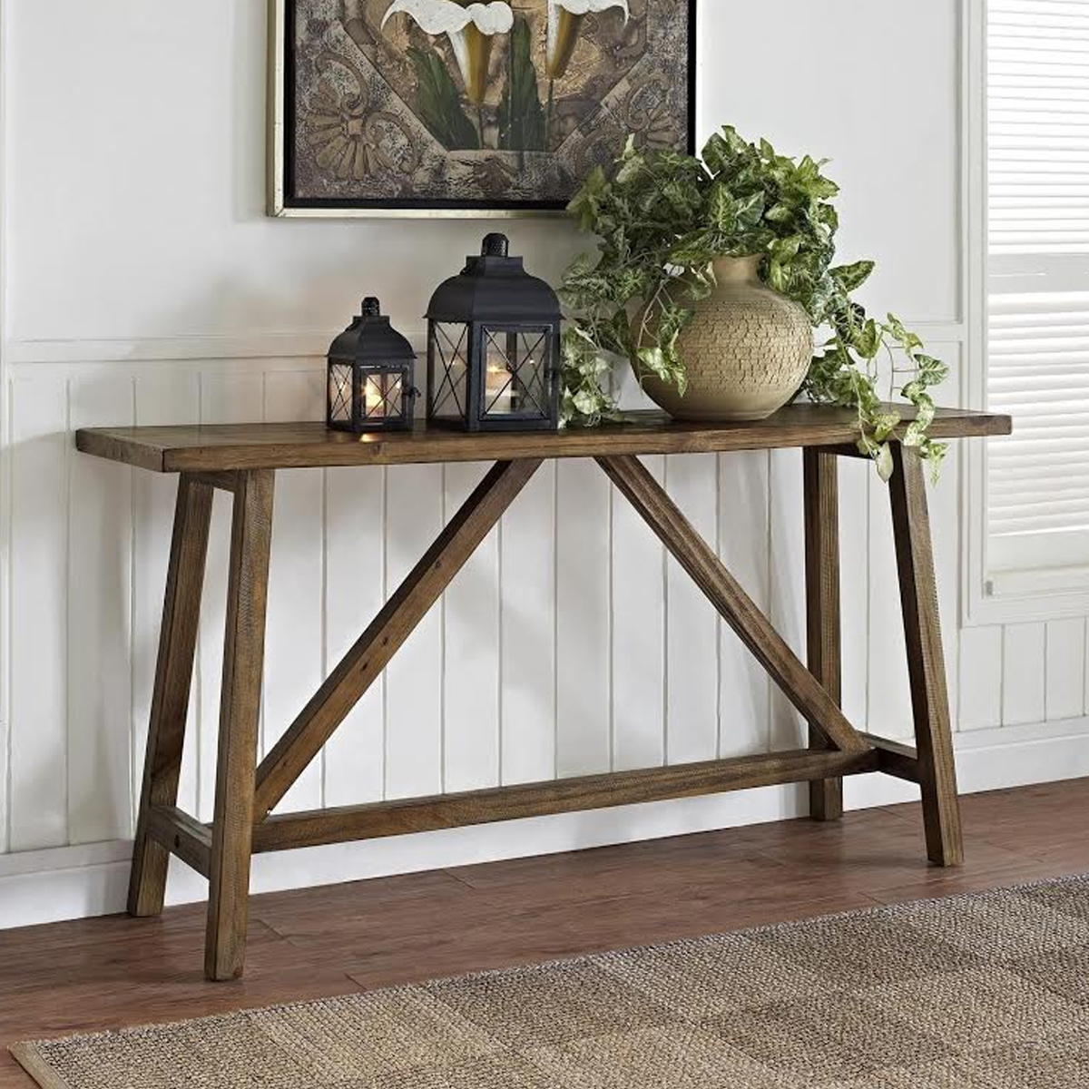 Rustic wood console table photo