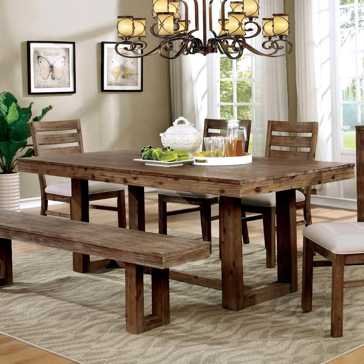 Country farmhouse plank-style dining table photo