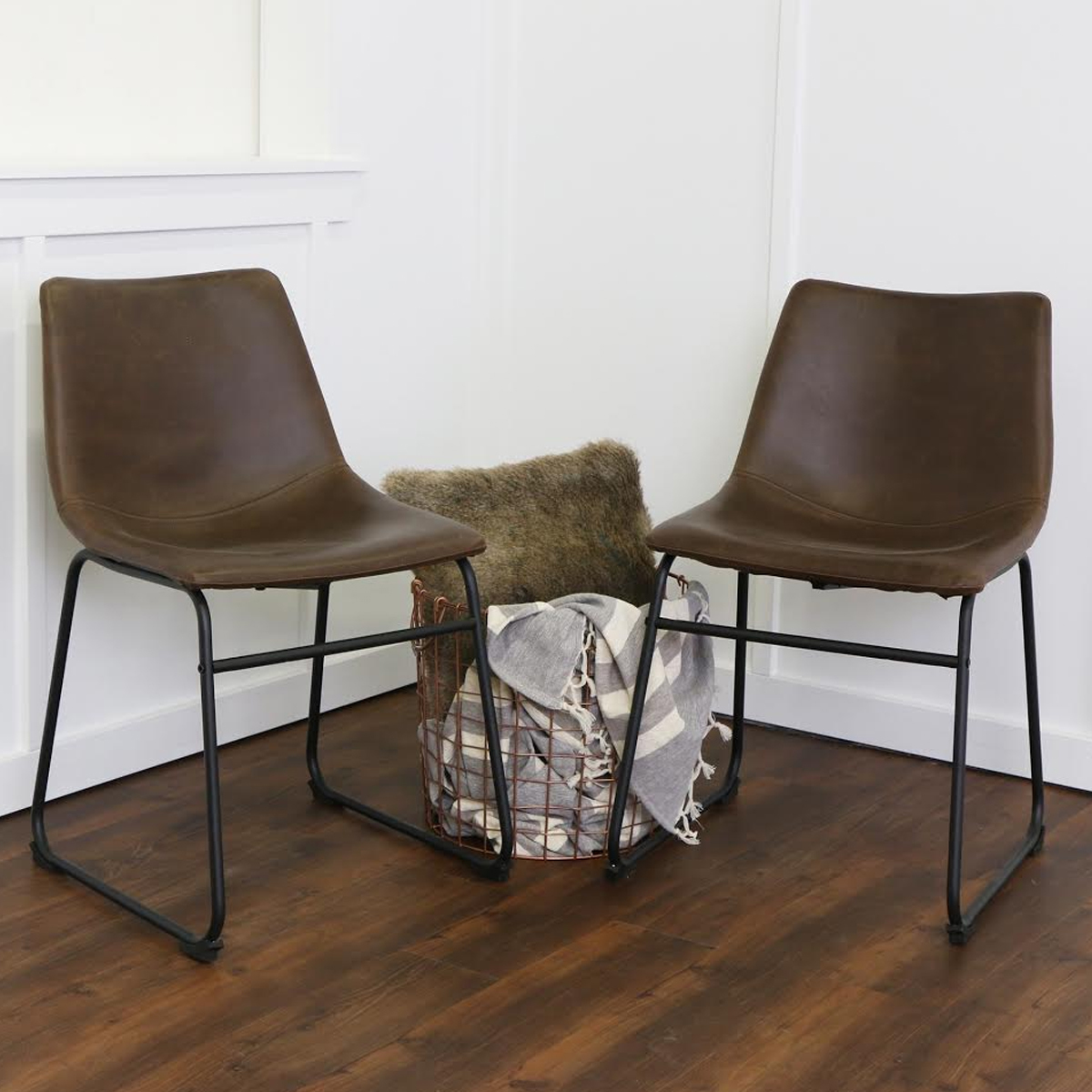 Brown faux leather dining chairs photo