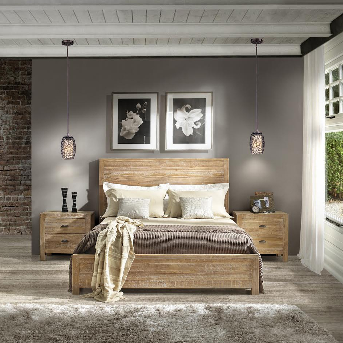 Queen solid wood panel bed photo