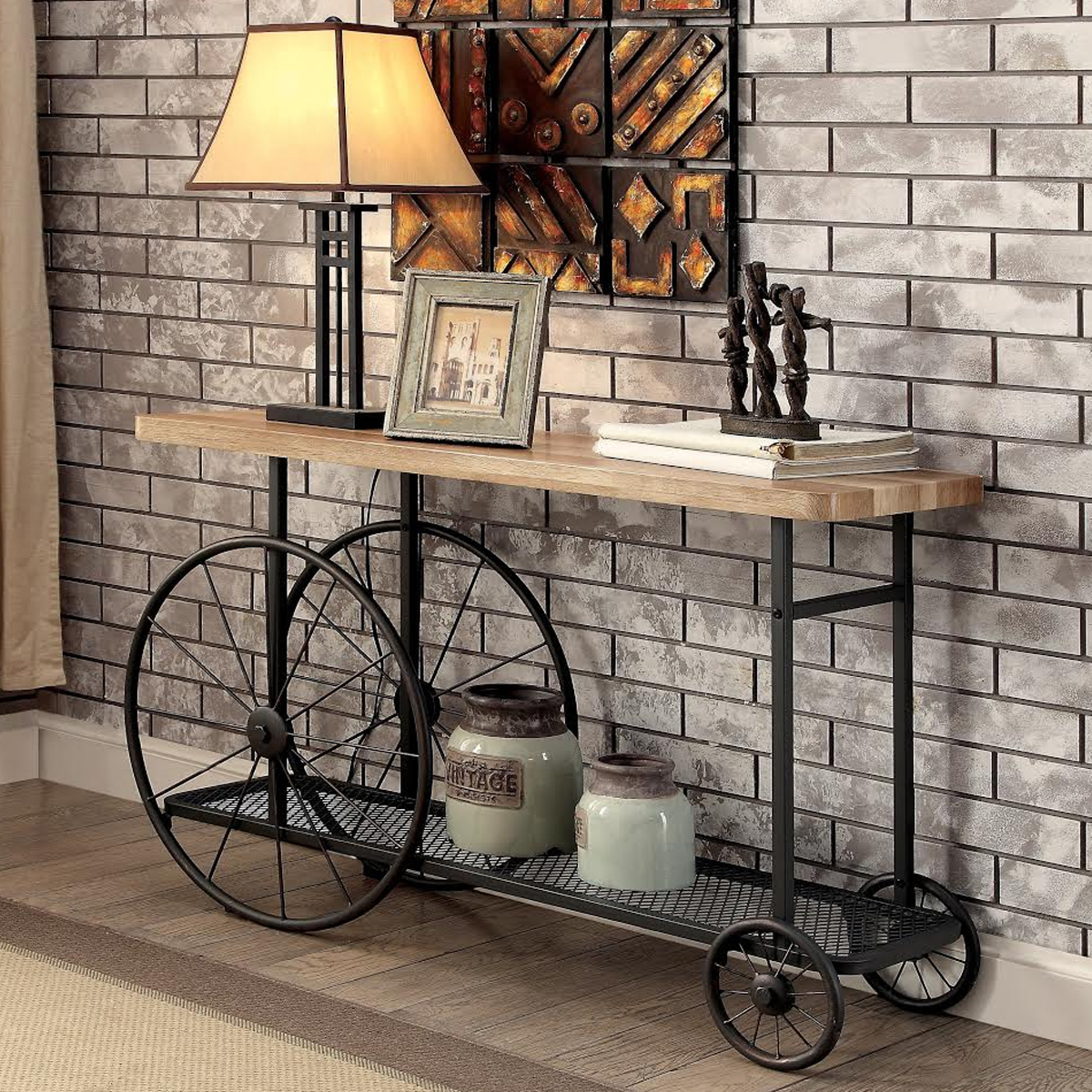 Industrial-style black wheeled sofa table photo