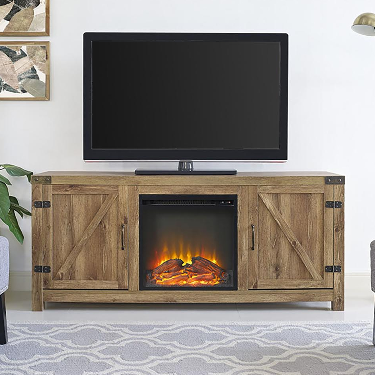 Barn door fireplace entertainment center photo