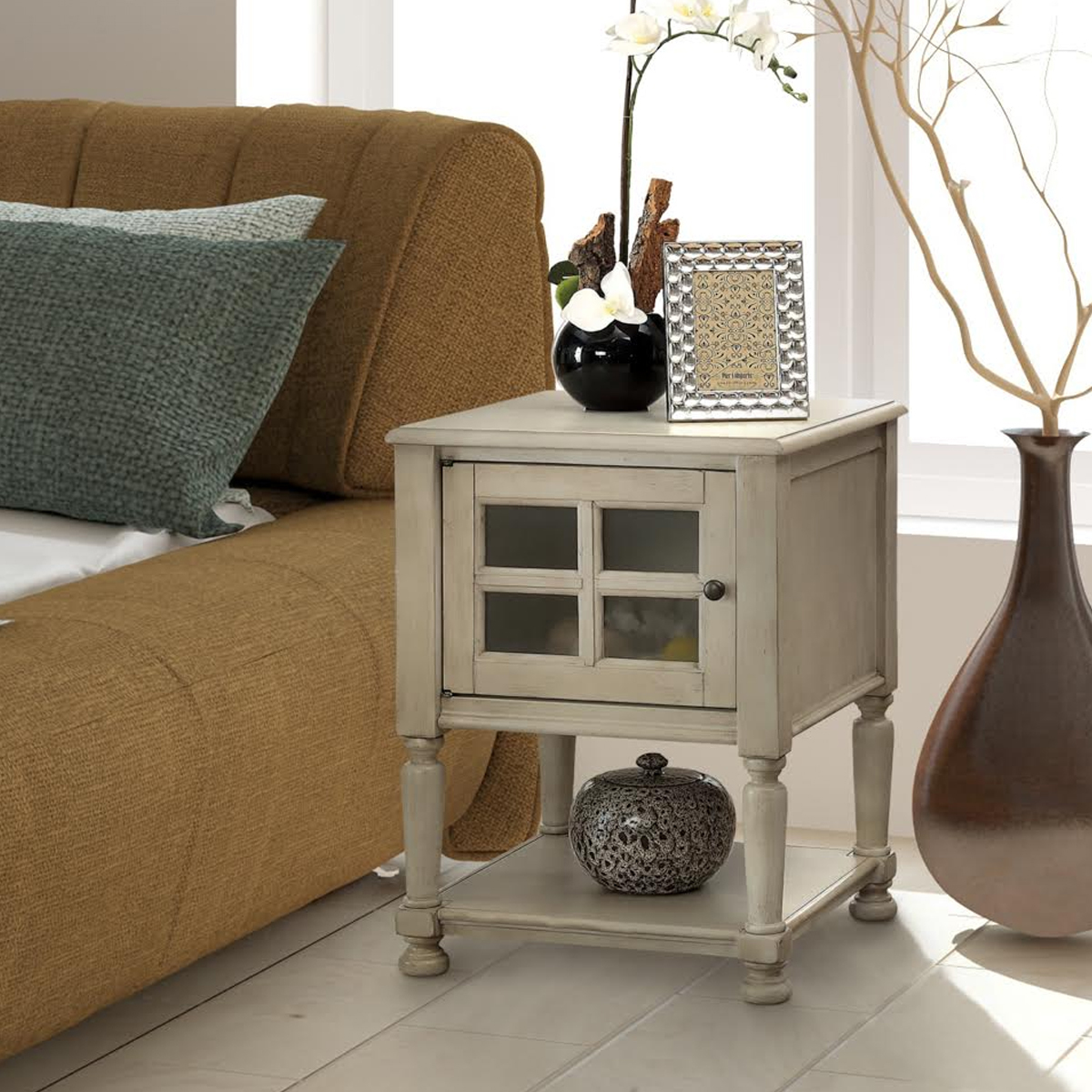 One-cabinet vintage side table photo