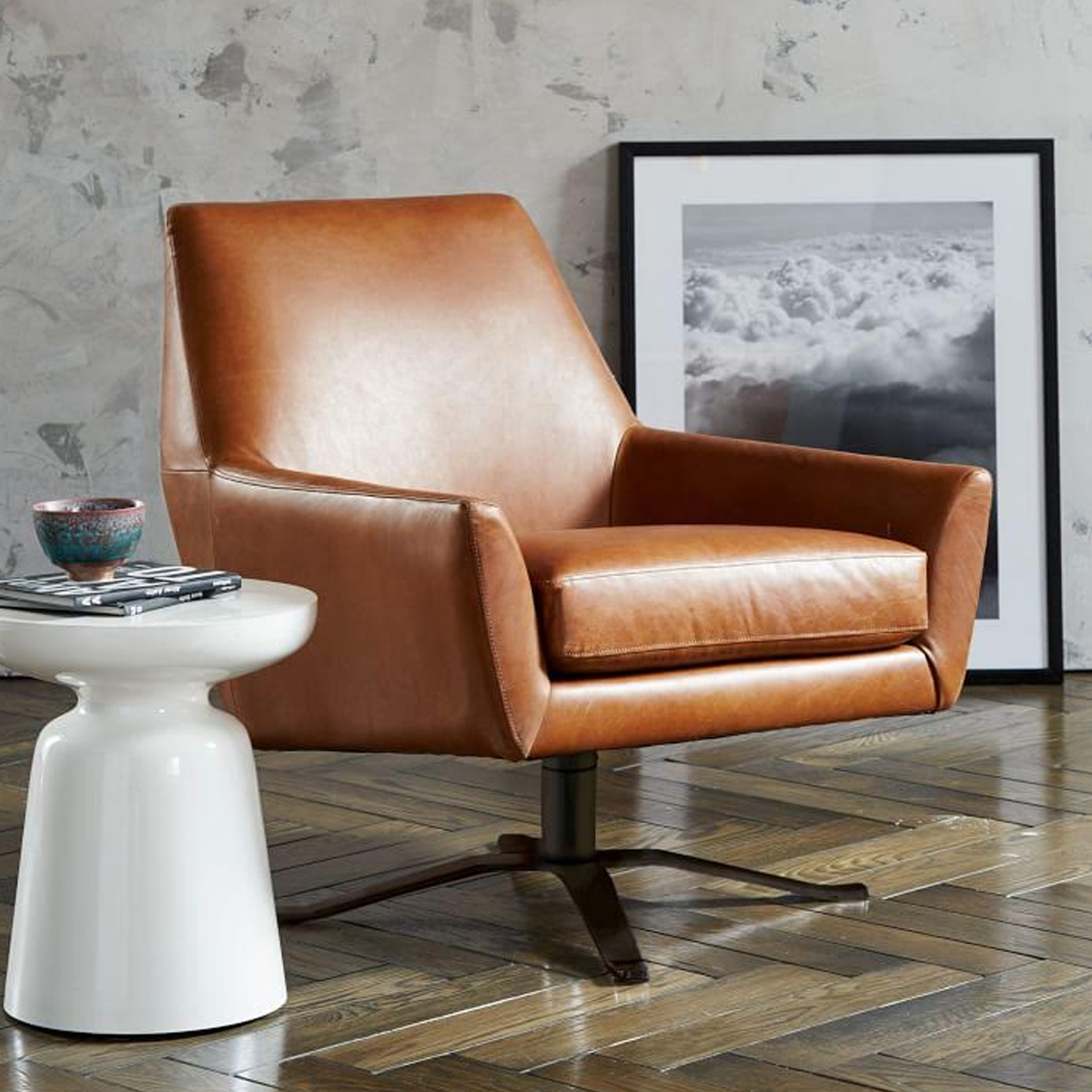 Lucas Leather Swivel Chair photo
