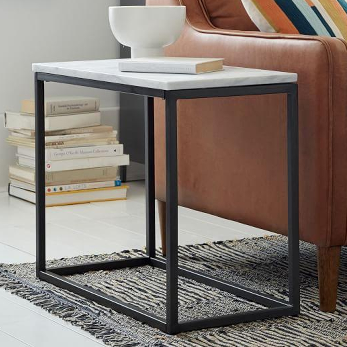 Box Frame Narrow Side Table — Marble/Antique Bronze photo