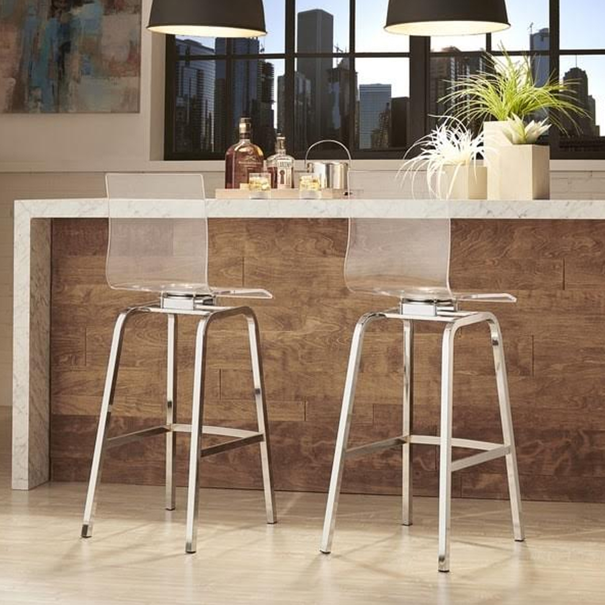 Miles Clear Acrylic Swivel High Back Barstools (Set of 2) photo