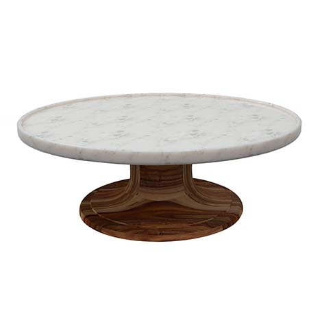 We love the mix of materials, with the base made of Acacia wood and the top marble, just waiting for your favorite cake, cookies, and brownies. photo