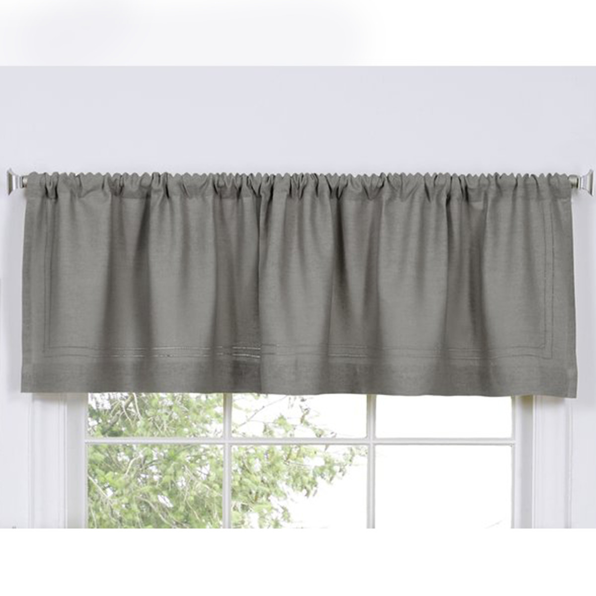 Simple gray valance on a white window photo