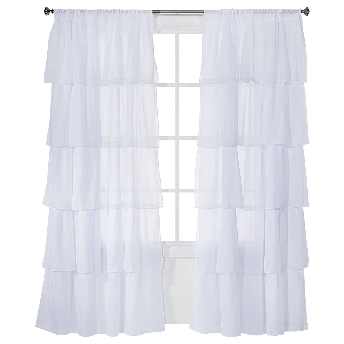 Sheer, white curtain panels with ruffles photo