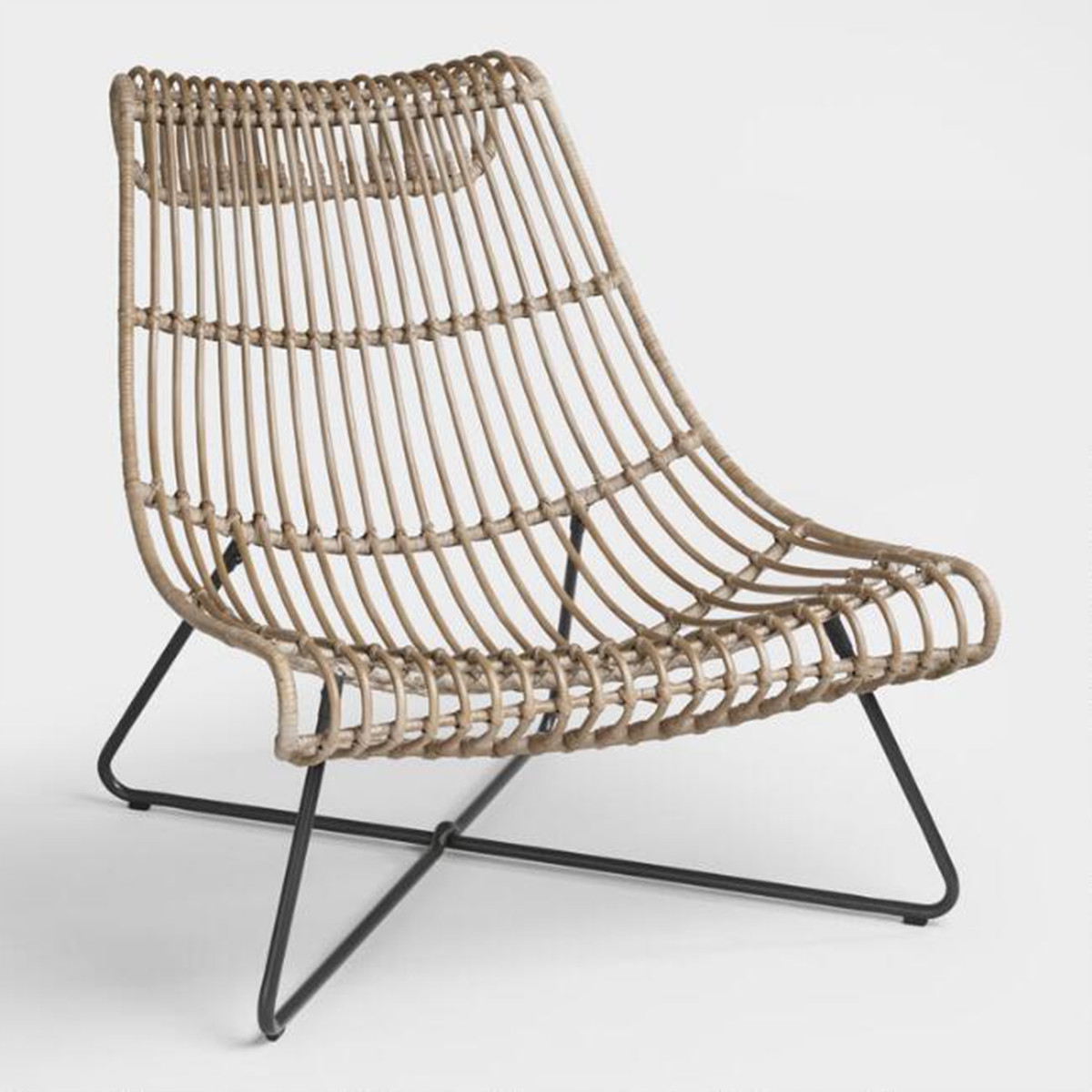 If the Bohemian aesthetic is more your style, opt for this neutral lounger built with sturdy rattan. photo
