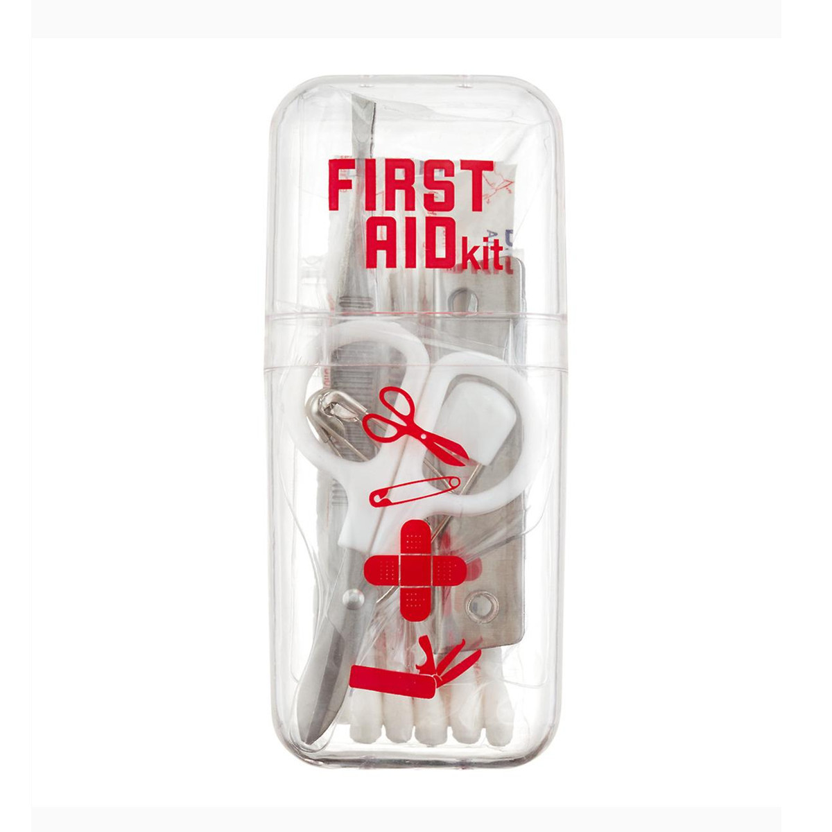 Palm-size first aid kit with scissors, bandages, etc. photo