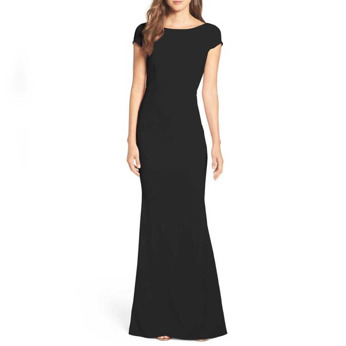 Woman wearing black mother of the bride dress photo