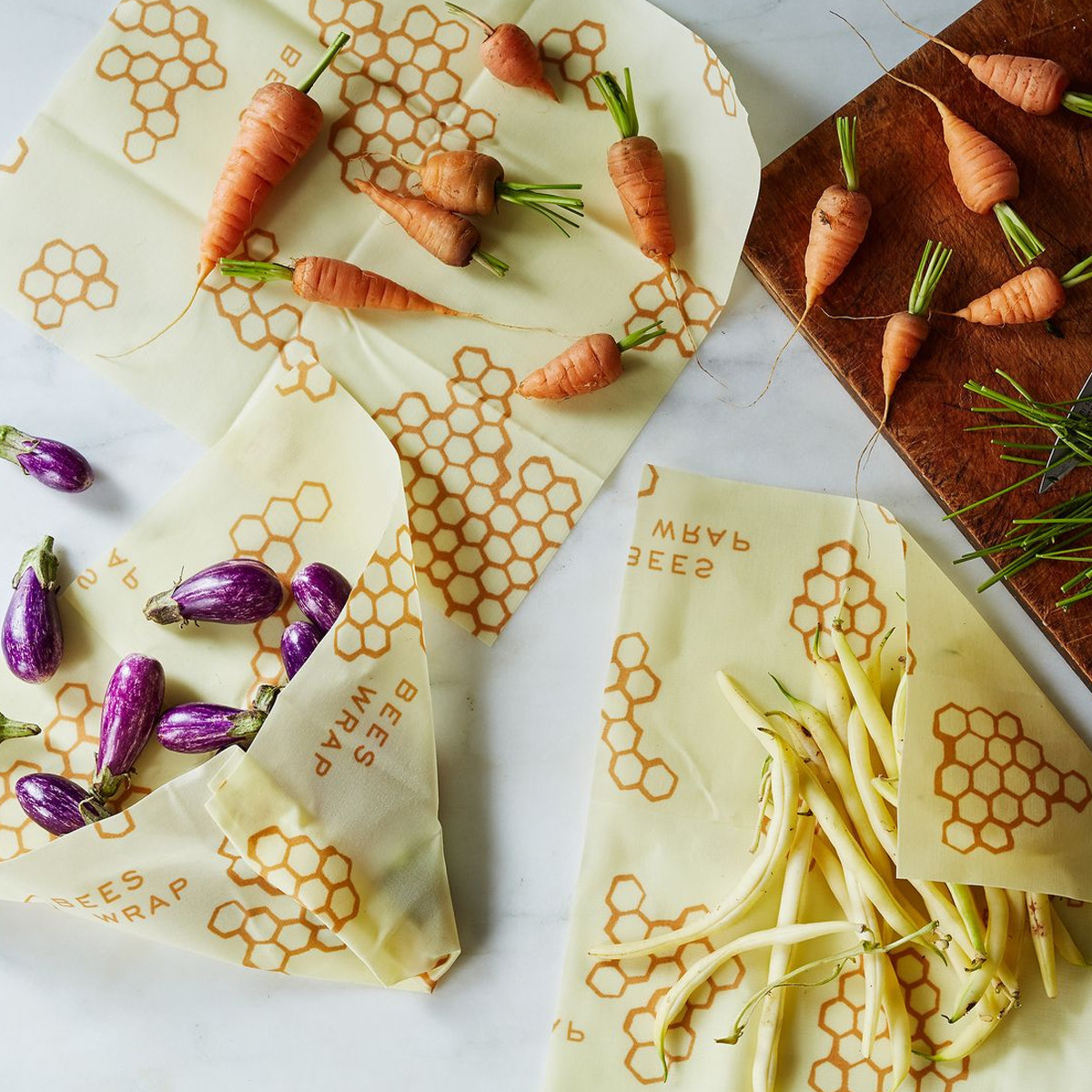Food wraps with a beehive print on them photo