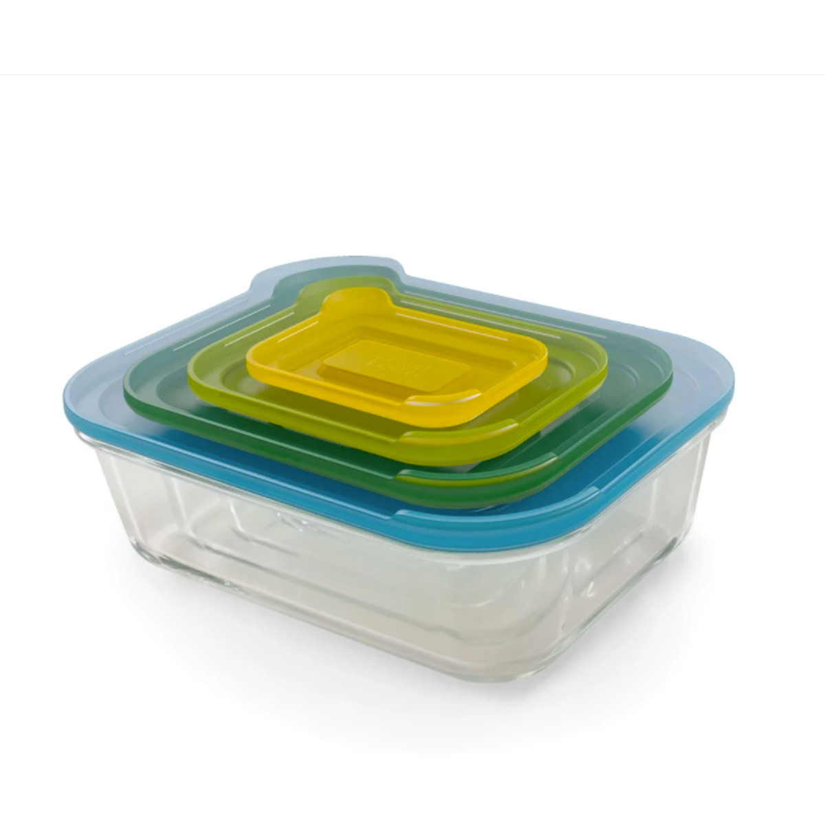 Glass food storage containers wtih plastic lids photo