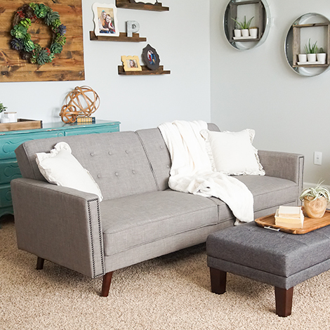 Refresh your family room with the Rowan linen futon and acacia tray for some extra style. photo