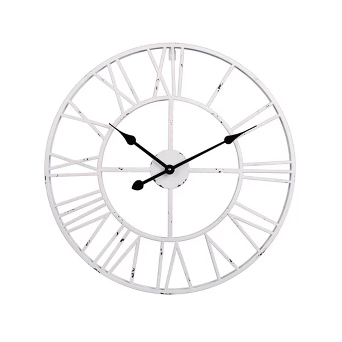 Large Roman wall clock in a distressed white finish. photo