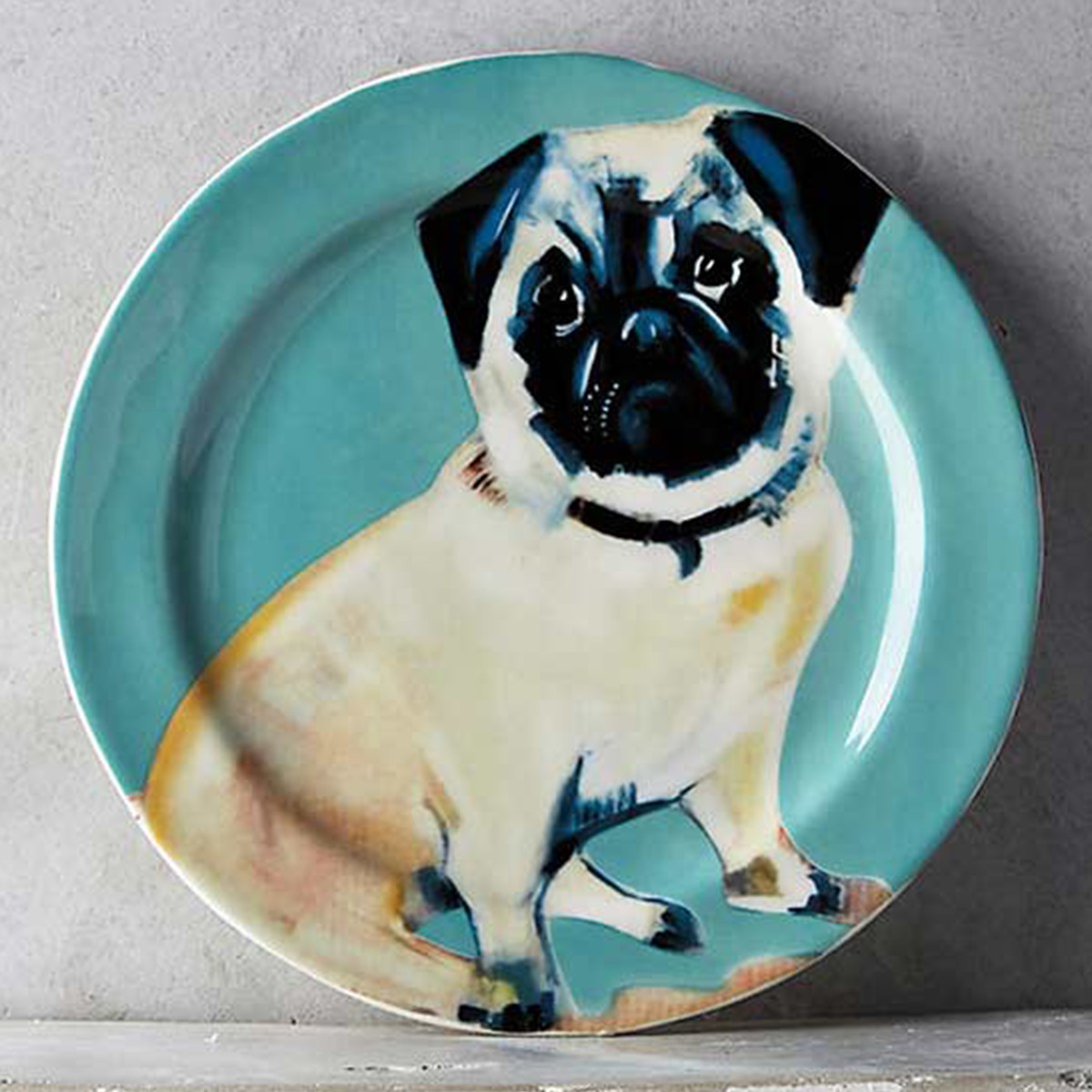 Anthropologie dessert plate with pug on it photo