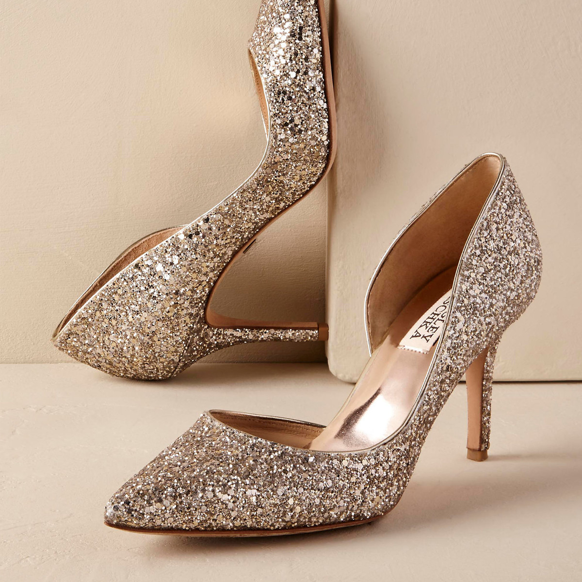 Staged photo of glitter heels photo