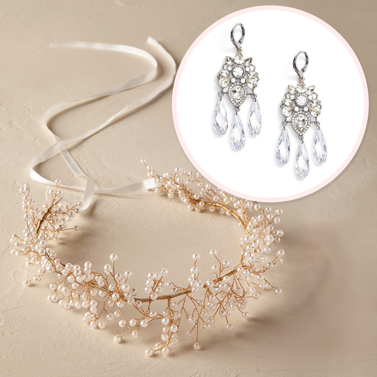 A pair of a diamond earrings and a flowery gold and white headband. photo