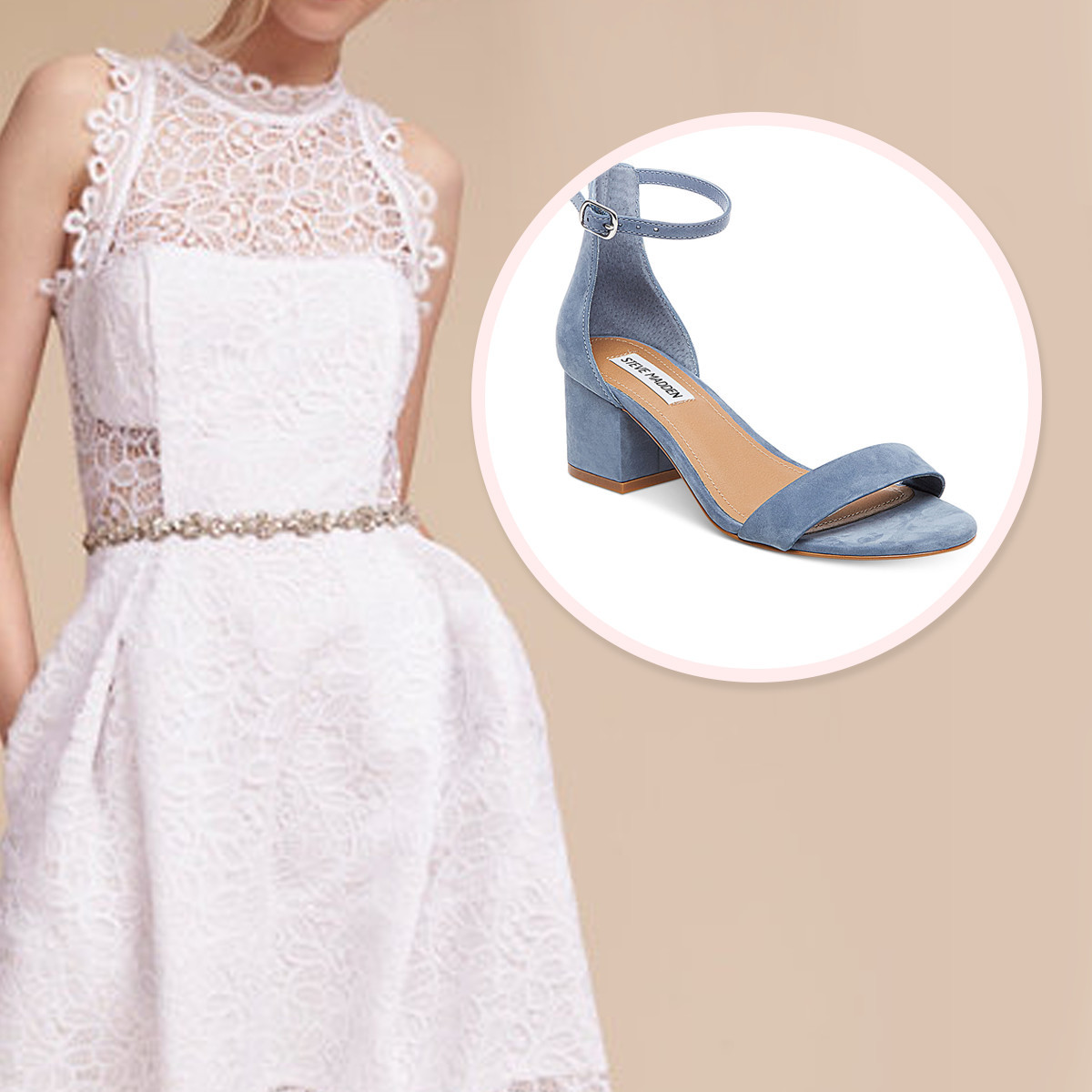 Light blue high heels next to a white lacy bridal dress photo