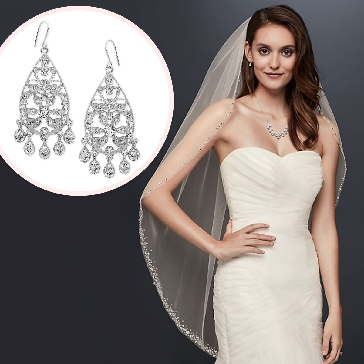 Bride next to diamond dangling earrings. photo