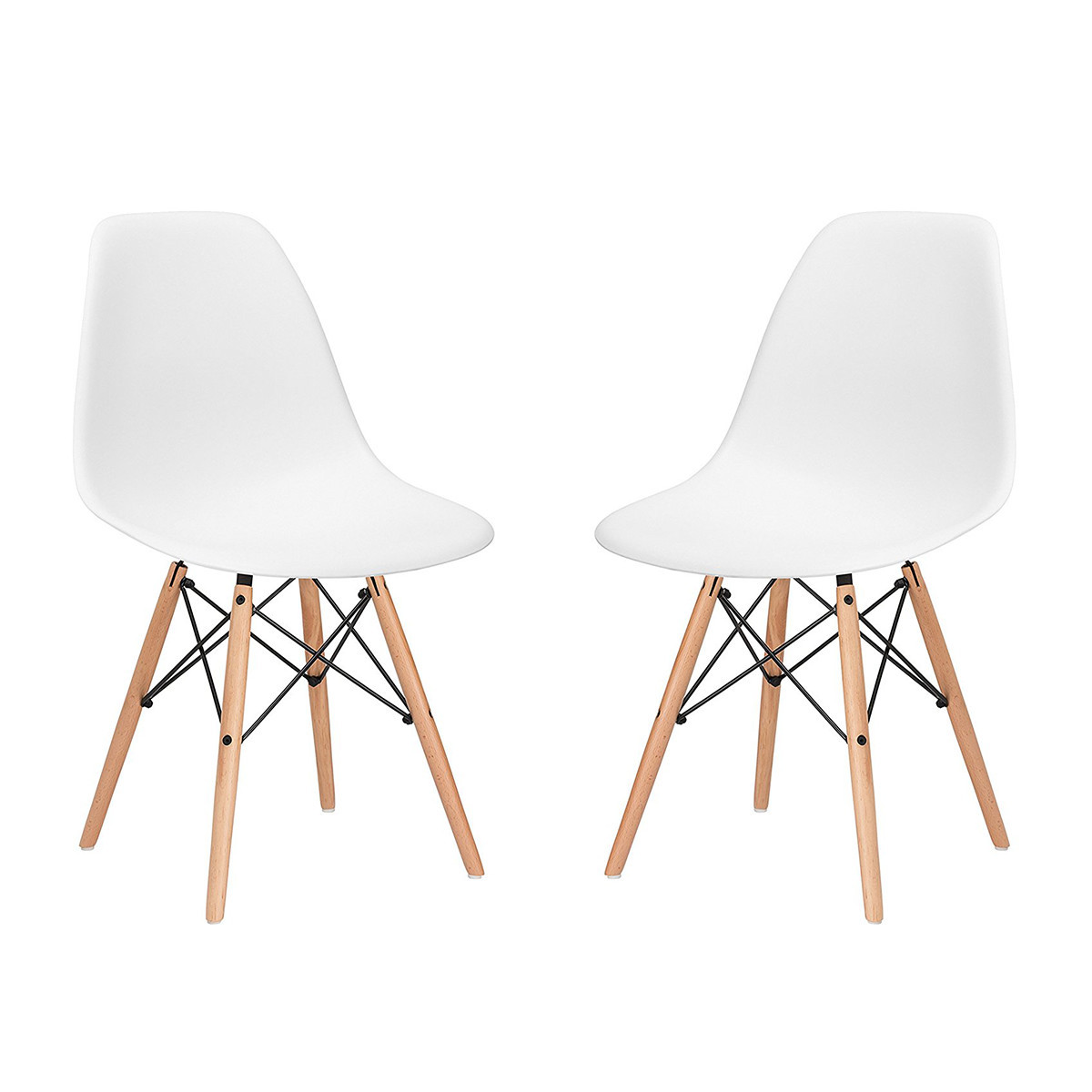Poly and Bark Eames Style Molded Plastic Dowel-Leg Side Chairs with Natural Legs in White photo