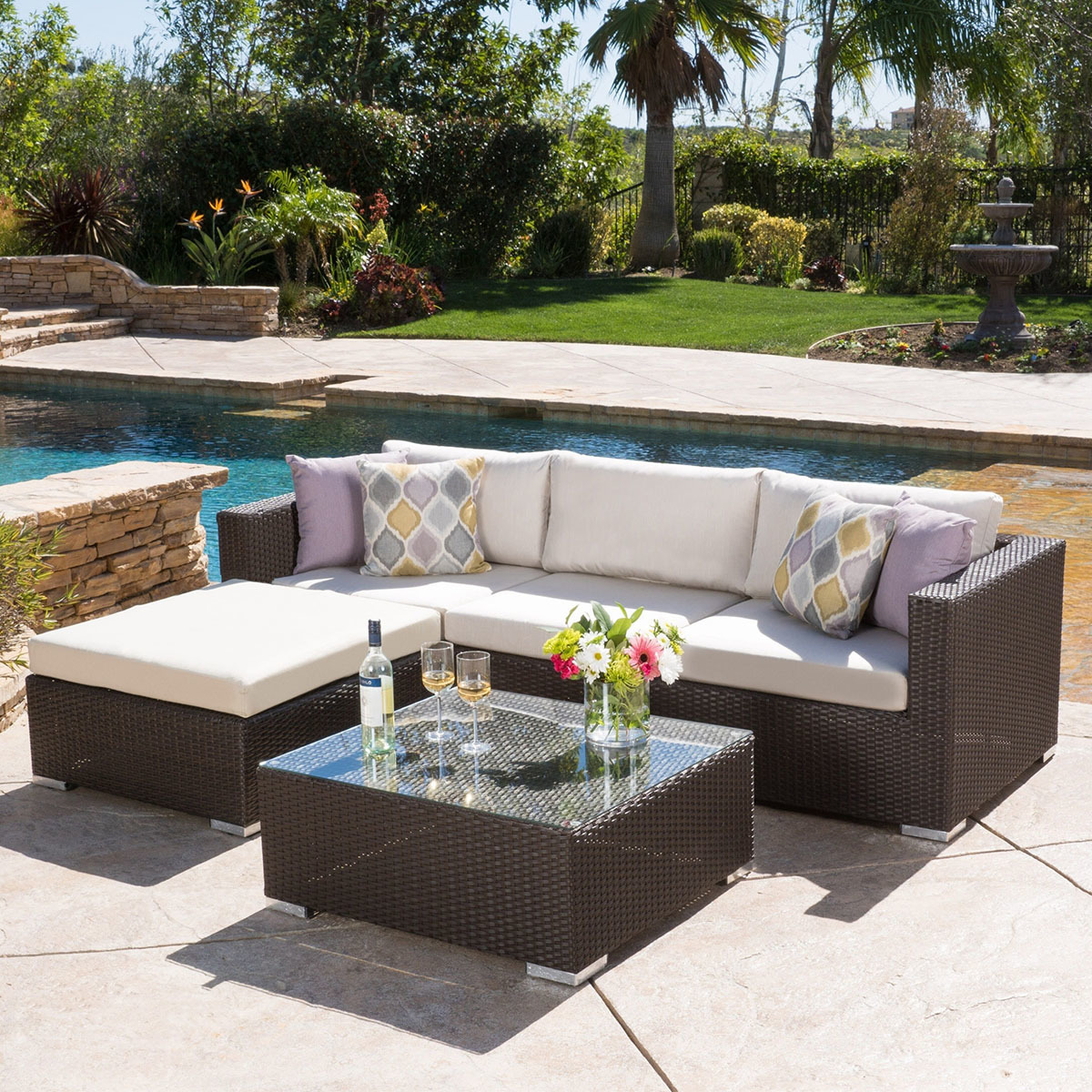 Overstock outdoor five-piece sectional set photo