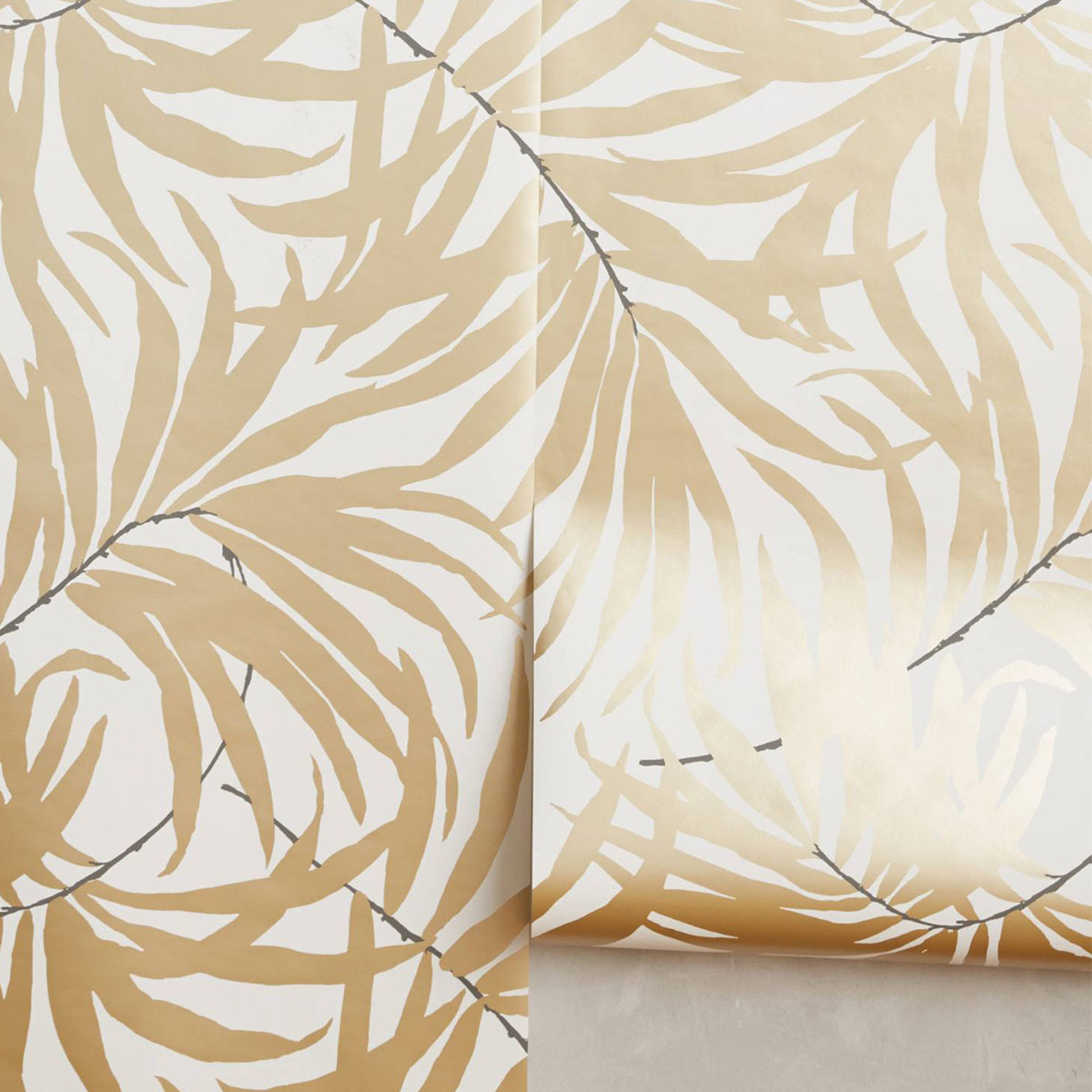 Wallpaper with bronze palm fronds photo