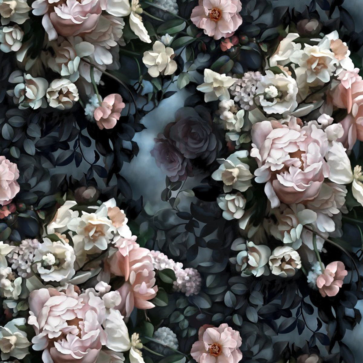 Dark wallpaper with floral print photo
