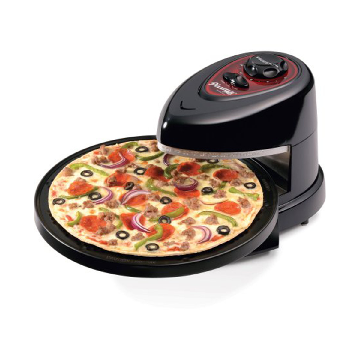 Small black and red pizza oven with a supreme pizza cooking on it photo