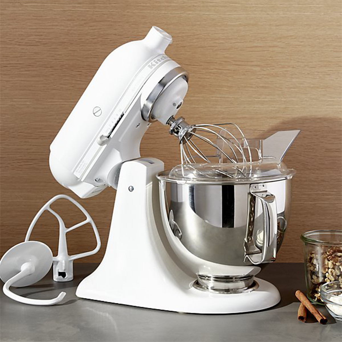 White KitchenAid stand mixer photo