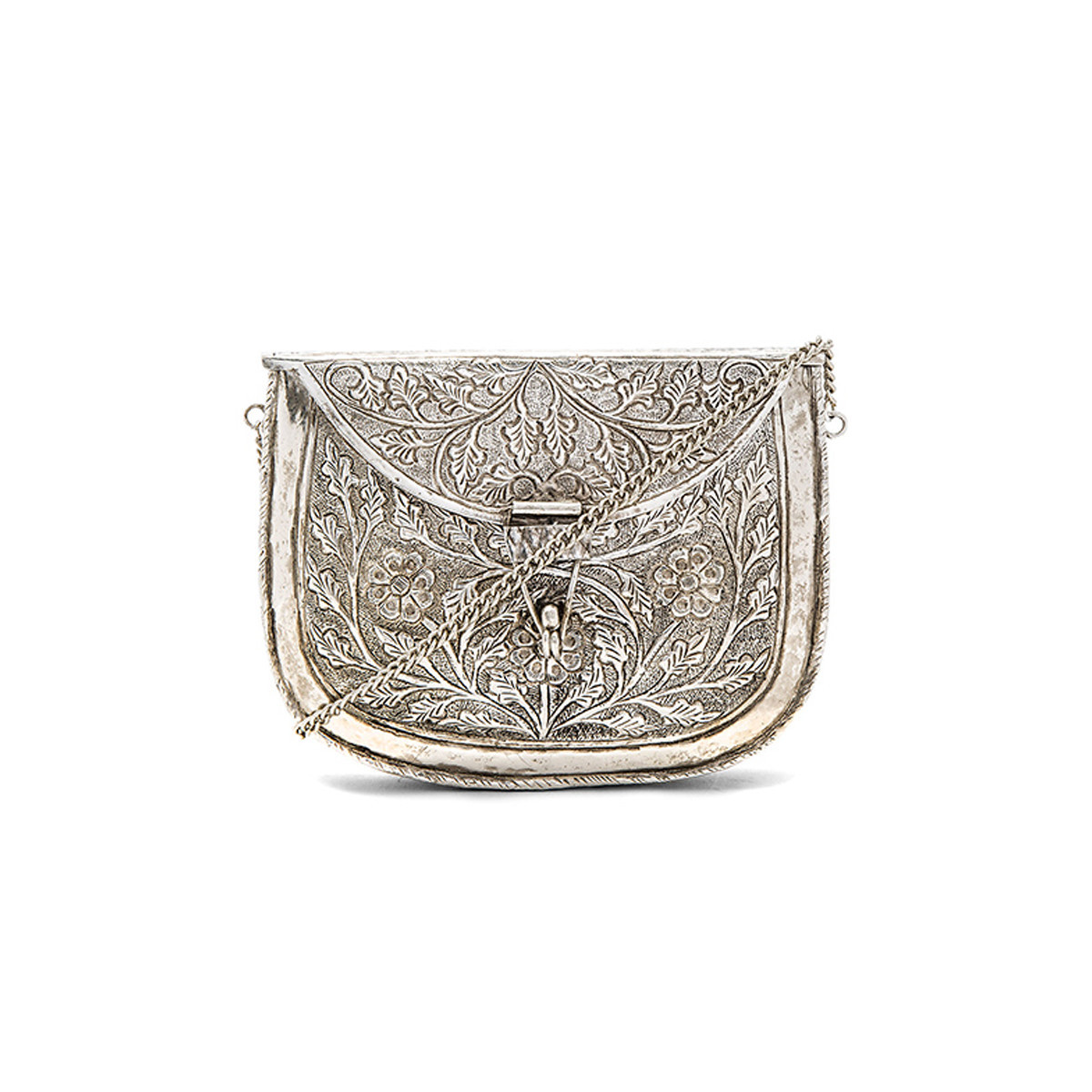 Intricate silver clutch with a clasped top flap photo