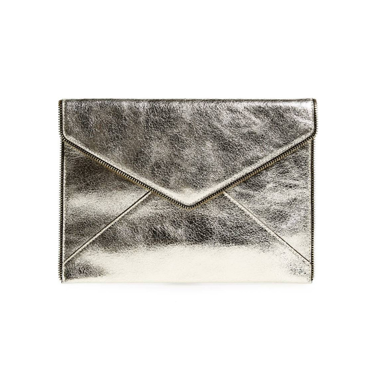 Chic and sleek metallic clutch with envelope design photo