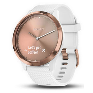 Rose gold and white Garmin smart watch from Nordstrom photo
